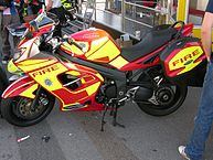 """West Sussex Fire and Rescue Service fire bike"" by Tom O'Connor from London, UK - Fire Bike!Uploaded by Ultra7. Licensed under Creative Commons Attribution-Share Alike 2.0 via Wikimedia Commons - http://commons.wikimedia.org/wiki/File:West_Sussex_Fire_and_Rescue_Service_fire_bike.jpg#mediaviewer/File:West_Sussex_Fire_and_Rescue_Service_fire_bike.jpg"