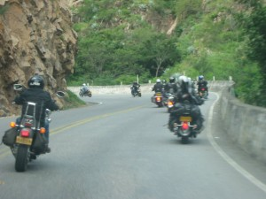 Bikers snaking through the mountains in Colombia