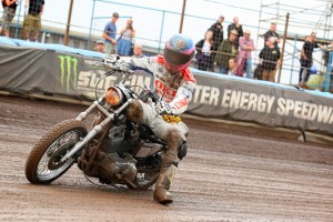 A Harley chopper on a dirt track? OK...