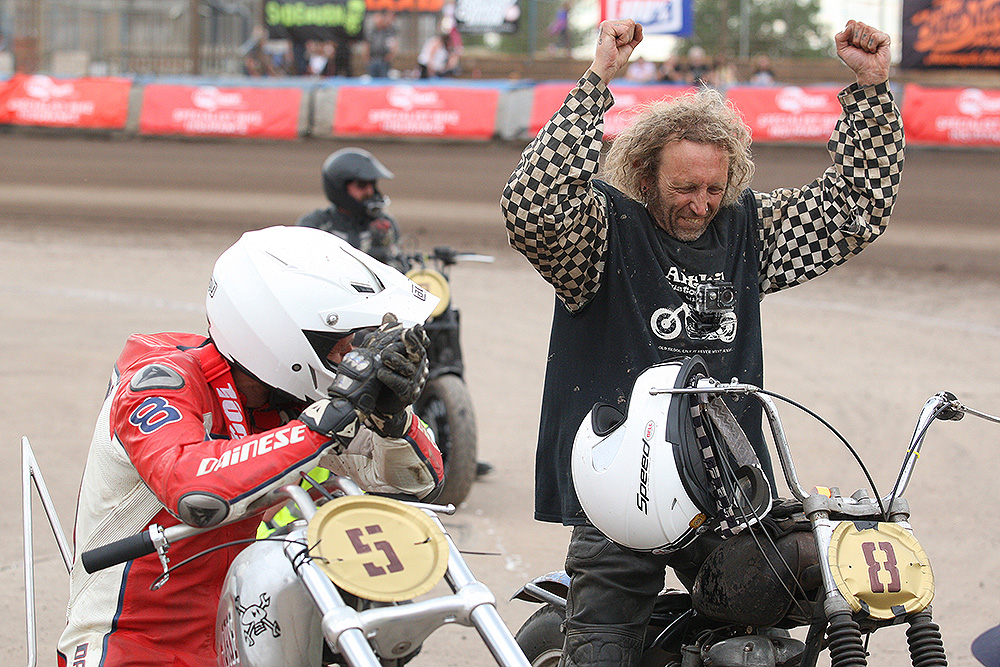 Guy Martin with race winner Dirt Quake V