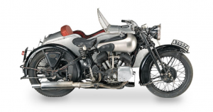 Classic motorbike and sidecar, a 70's sitcom star, is up for sale