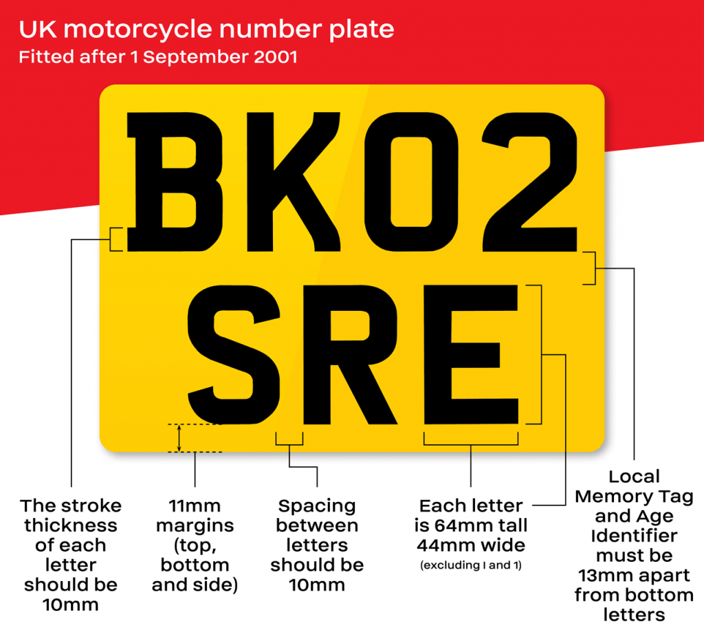 UK motorcycle number plate design - fitted after 1st September 2001