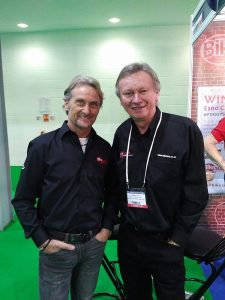 Dave McCourt, right, with brand ambassador and Superbikes legend Carl Fogarty