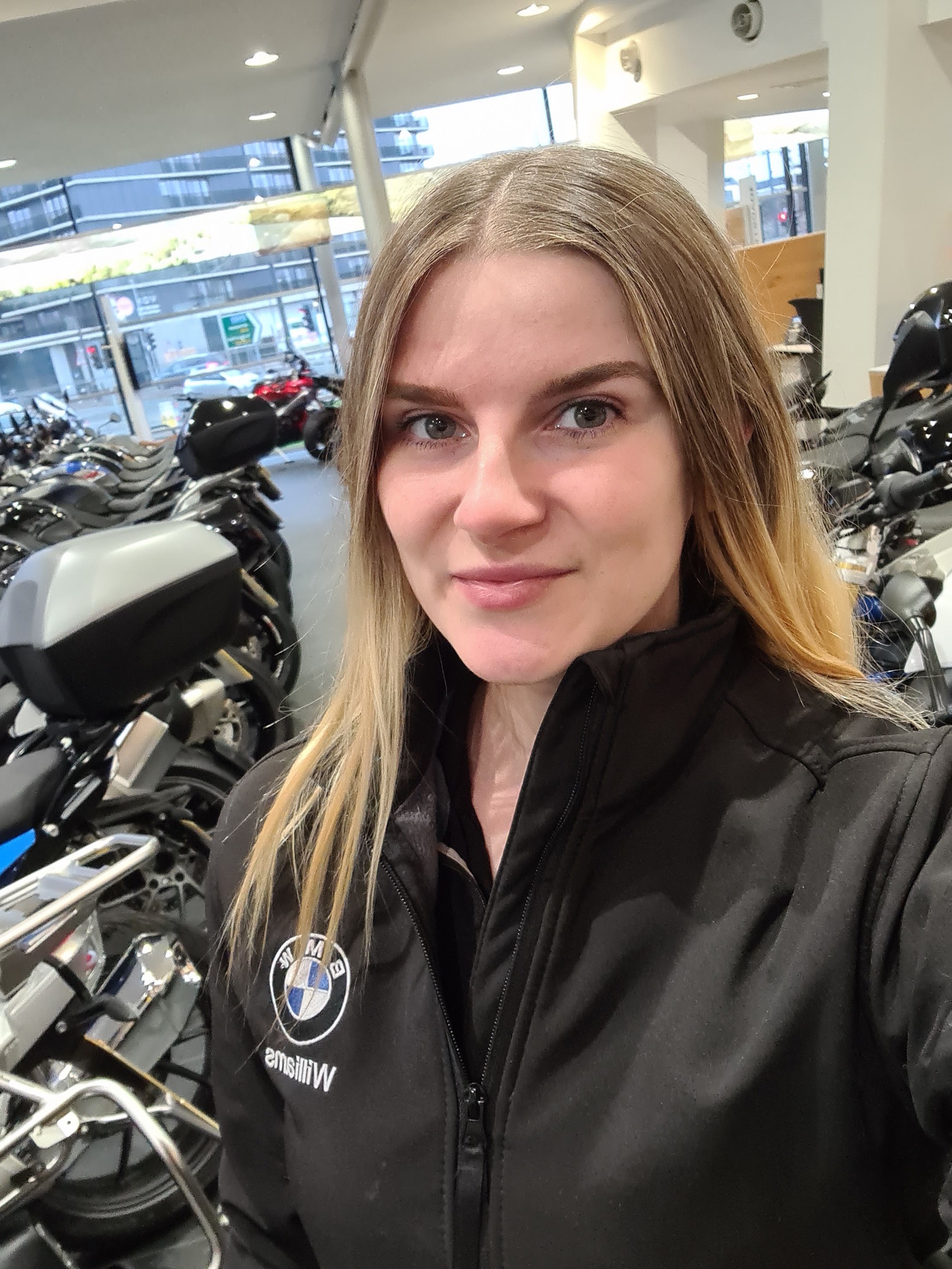 The 29-year-old at her place of work, BMW motorcycle dealership Williams Motorrad in Manchester