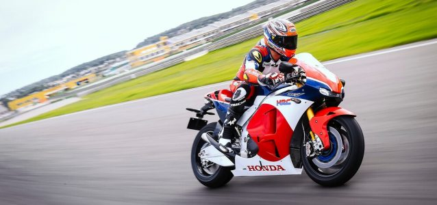 A Honda RV213-S in its natural habit, on a track