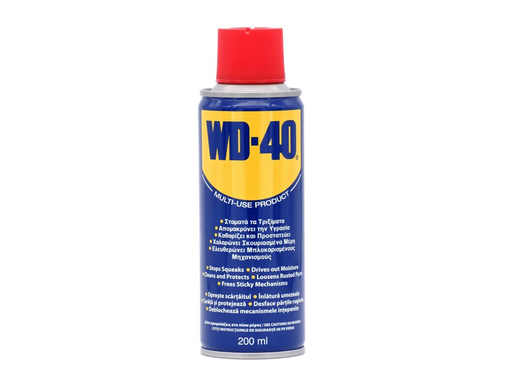 WD40 can on a white background