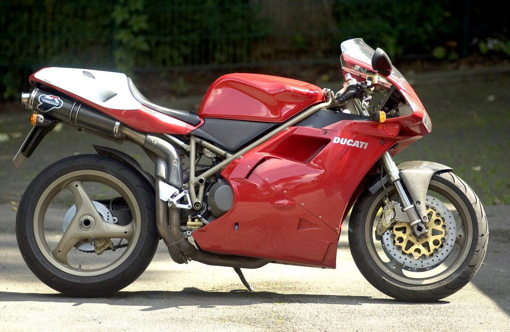 Red Ducati 916 SPS standing upright