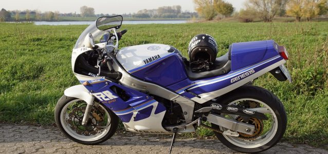 Blue Yamaha FZR1000 with green space and lake in the background